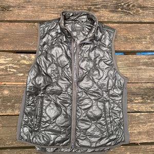 J Crew Shiny Black Puffer Vest. Size L.